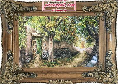 تابلوفرش طرح منظره باغ با قاب چوبی