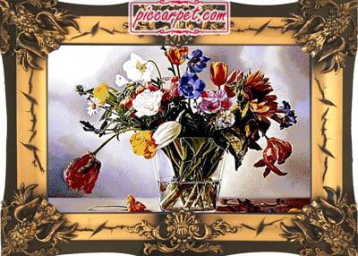 تابلو فرش گلدان شیشه ای با قاب شیرنشان