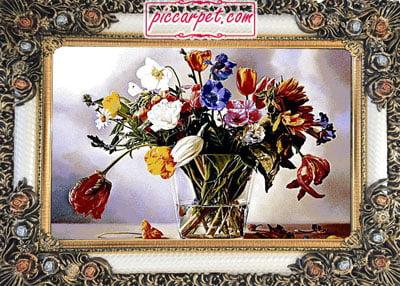تابلوفرش ماشینی گلدان با قاب شاپرک