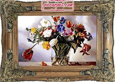 تابلو فرش طرح گل و گلدان با قاب چوبی قهوهای