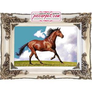 تابلو فرش طرح اسب قهوهای