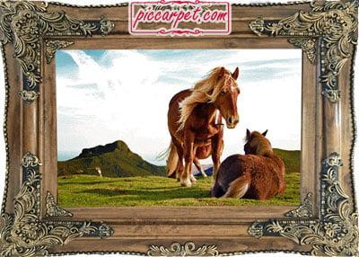فرش تابلو اسب با قاب چوبی قهوهای