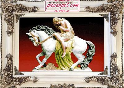 تابلو فرش زن اسب سوار با قاب چوبی سفید