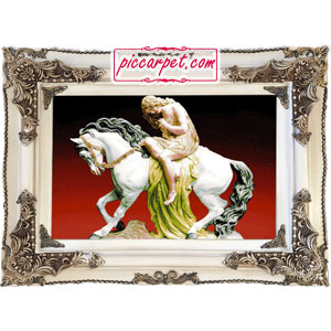 تابلو فرش زن اسب سوار