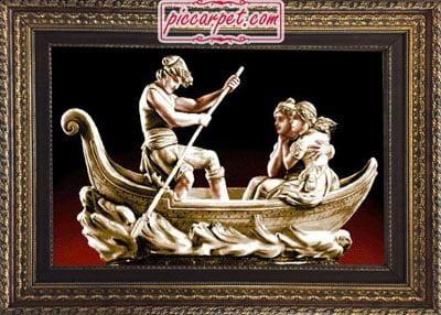 تابلو فرش قایق عشق با قاب پروفیلی