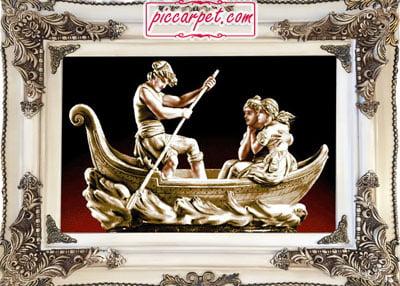 تابلو فرش قایق عشق با قاب چوبی سفید