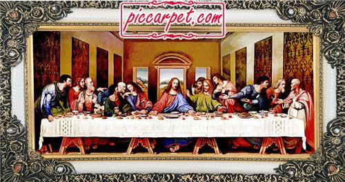 فرش تابلو طرح شام آخر حضرت مسیح با قاب شاپرک