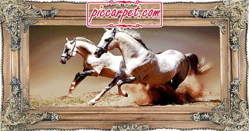 تابلو فرش ماشینی اسب سفید با قاب چوبی قهوهای