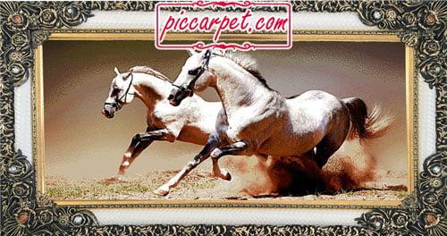 تابلوفرش طرح اسب سفید با قاب شاپرک