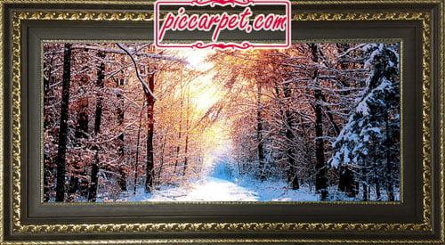تابلو فرش طرح زمستان با قاب پروفیلی