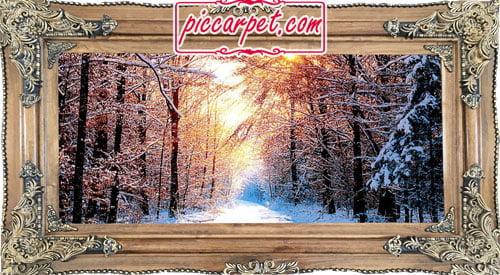تابلو فرش ماشینی زمستان با قاب چوبی قهوهای