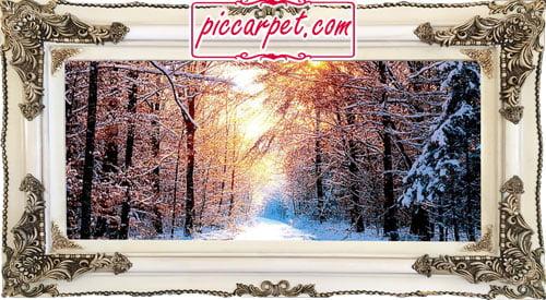 تابلو فرش طرح زمستان با قاب چوبی سفید