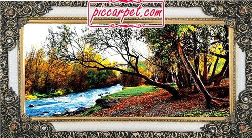 فرش تابلو درختان پاییز با قاب شاپرک
