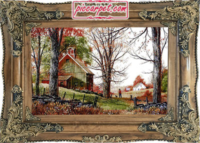 فرش تابلو طرح کلبه و جنگل با قاب چوبی قهوهای
