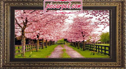 تابلو فرش شکوفه درختان با قاب پروفیلی