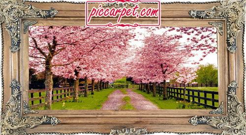 فرش تابلو طرح بهار با قاب چوبی قهوهای