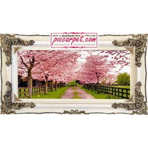 تابلو فرش شکوفه درختان