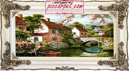 تابلو فرش طرح قایق و پل با قاب چوبی سفید