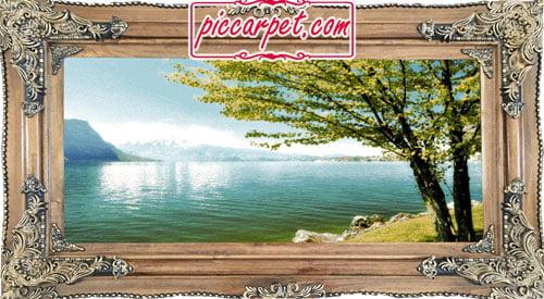 فرش تابلو طبیعت آرام با قاب چوبی قهوهای