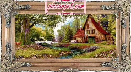 فرش تابلو طرح منظره رویایی با قاب چوبی قهوهای