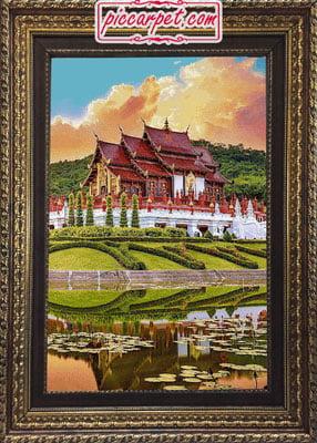 تابلو فرش طرح خانه چینی با قاب پروفیلی
