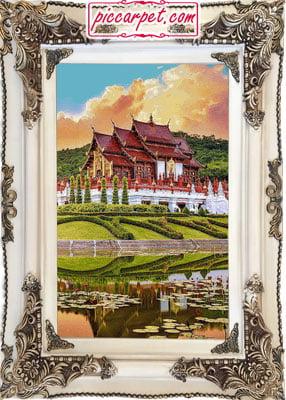 تابلو فرش طرح خانه چینی با قاب چوبی سفید