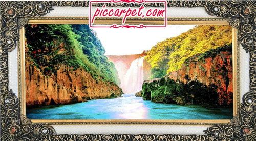 فرش تابلو منظره رودخانه با قاب شاپرک