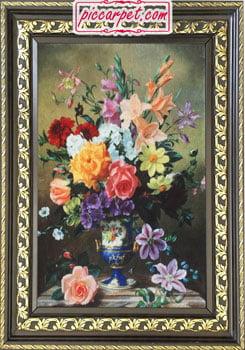 تابلو فرش گل های رنگارنگ با قاب پروفیلی