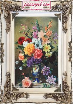 تابلو فرش گل های رنگارنگ چاپی