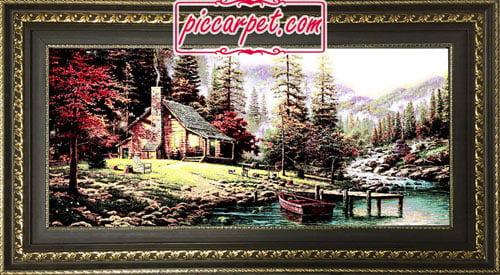 تابلو فرش کلبه ای در جنگل با قاب پروفیلی