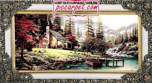 فرش تابلو قایق و کلبهی جنگلی با قاب شاپرک