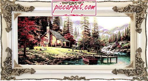 تابلوفرش کلبه ای در جنگل با قاب چوبی سفید
