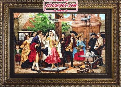 تابلو فرش مهریه عروس با قاب پروفیلی