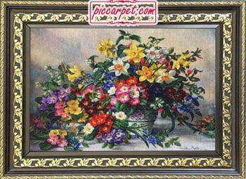 تابلو فرش گلهای رویایی با قاب پروفیلی