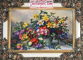 تابلوفرش طرح گلدان گل با قاب شاپرک