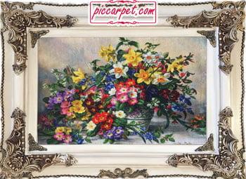 تابلو فرش گلهای رویایی چاپی