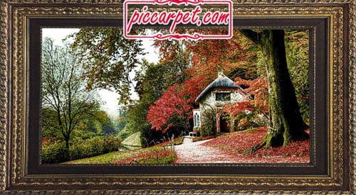 تابلو فرش پاییز در جنگل با قاب پروفیلی