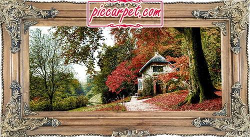 فرش تابلو طرح منظره پاییز با قاب چوبی قهوهای