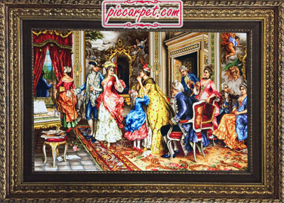 تابلو فرش وداع فرانسوی با قاب پروفیلی