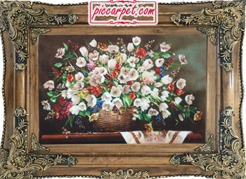 فرش تابلو طرح گل سفید با قاب چوبی