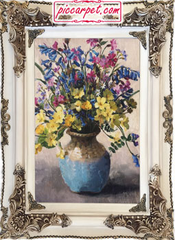 تابلو فرش طرح گلدان گل چاپی