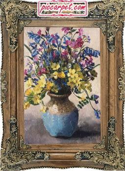 فرش تابلو طرح گلدان آبی با قاب چوبی