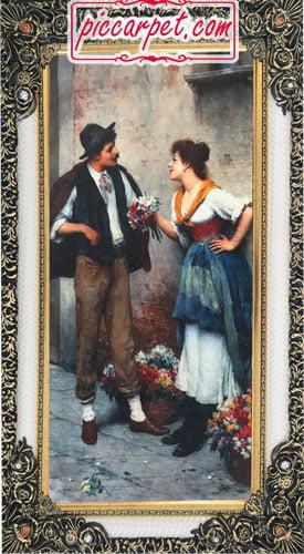 تابلو فرش فرانسوی دختر گلفروش با قاب شاپرک