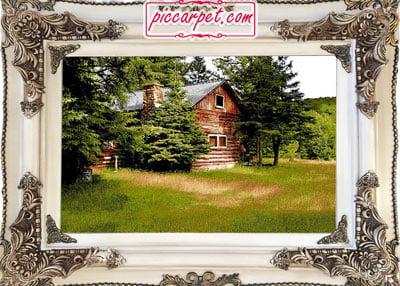 تابلو فرش کلبهی جنگلی با قاب چوبی سفید