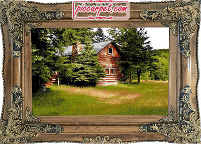 فرش تابلو طبیعت جنگل با قاب چوبی قهوهای