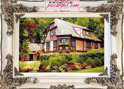 تابلو فرش خانه جنگلی با قاب چوبی سفید