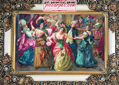 فرش تابلو طرح رقص فرانسوی با قاب شاپرک