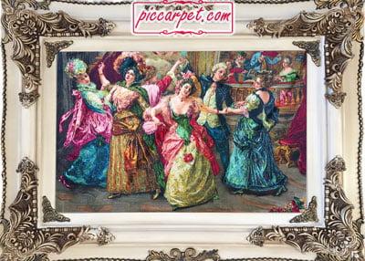 تابلو فرش طرح رقص به همراه قاب چوبی