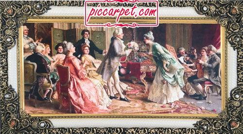 تابلو فرش فرانسوی خواستگاری با قاب شاپرک