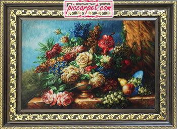 تابلوفرش طرح گل و میوه با قاب پروفیلی